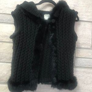 Rabbit Fur Trimmed Hooded Knit Vest Small/Medium